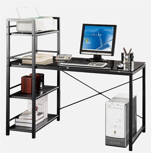 Black Glass Office Desk with Integrated Bookshelf Storage