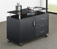 "Load image into Gallery viewer, 48"" Contemporary Desk with Storage in Espresso Finish with Optional Printer Stand"