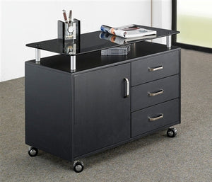 "48"" Contemporary Desk with Storage in Espresso Finish with Optional Printer Stand"