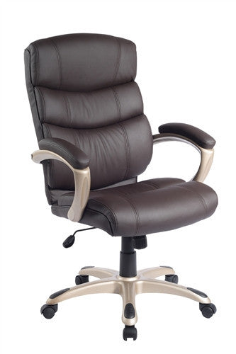 Modern Chocolate Executive Office Chair with Metallic Accents