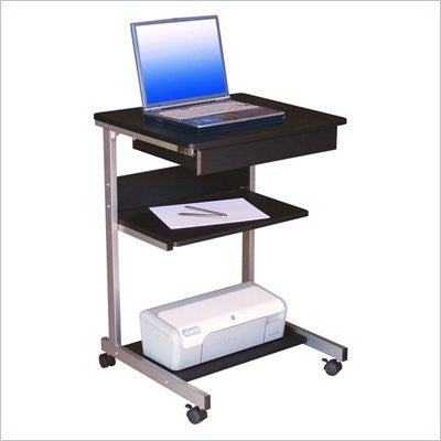 Mobile Laptop Stand in Graphite with Shelving & Storage Drawer