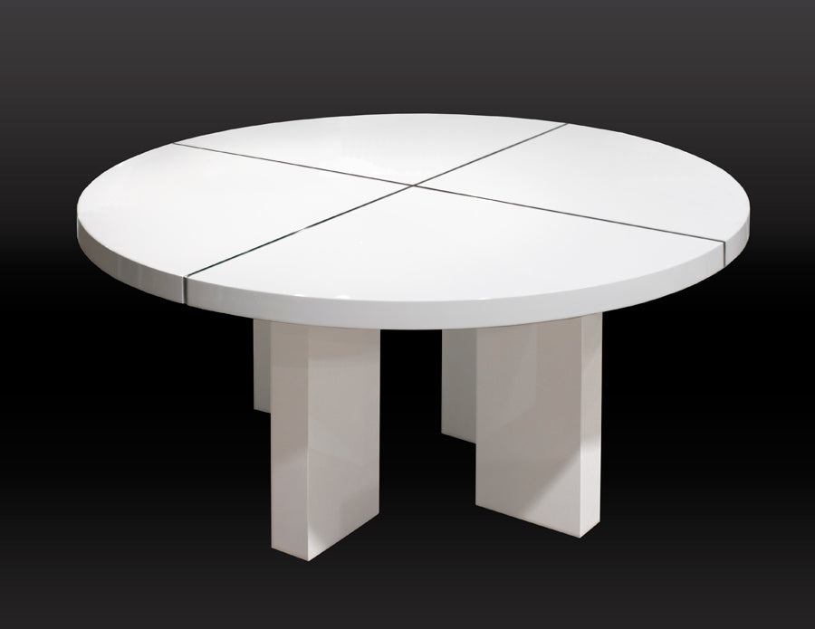 Modern White Lacquer Circular Meeting Table