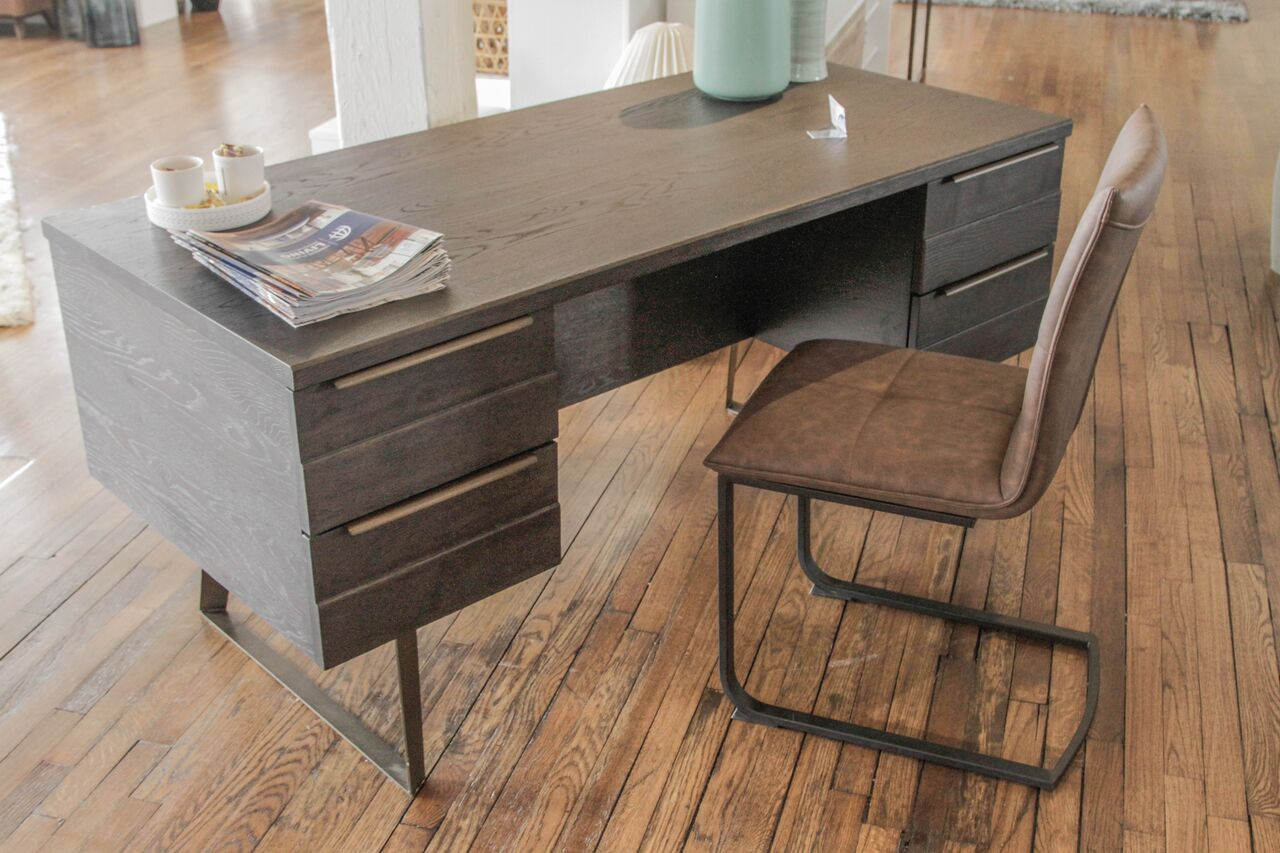 "Modern 63"" Mocca Brown Office Desk"