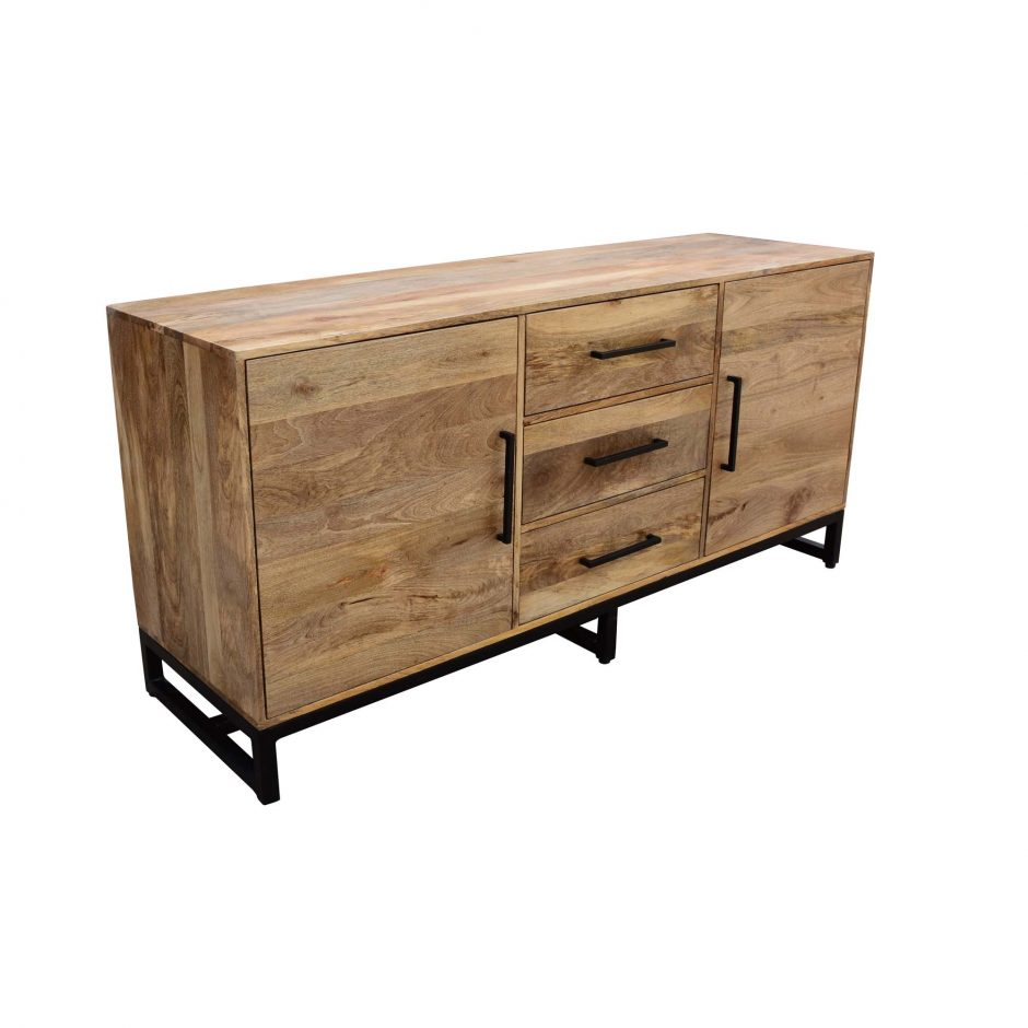 "68"" Solid Mango Credenza with Three Drawers"
