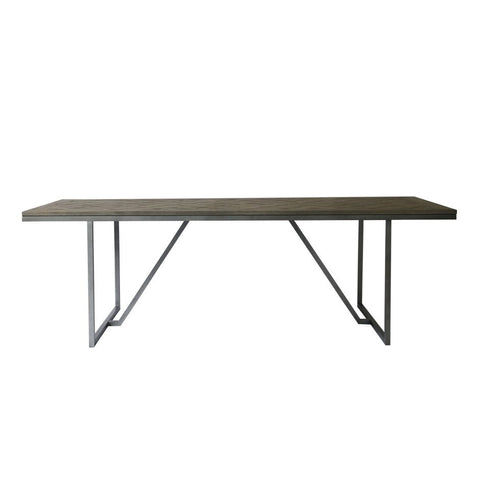 "Charming 94"" Solid Oak Conference Table with Metal Base"