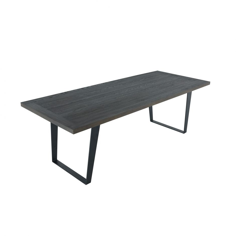 "94"" Modern Conference Table with Solid Oak Top, in Black Finish"