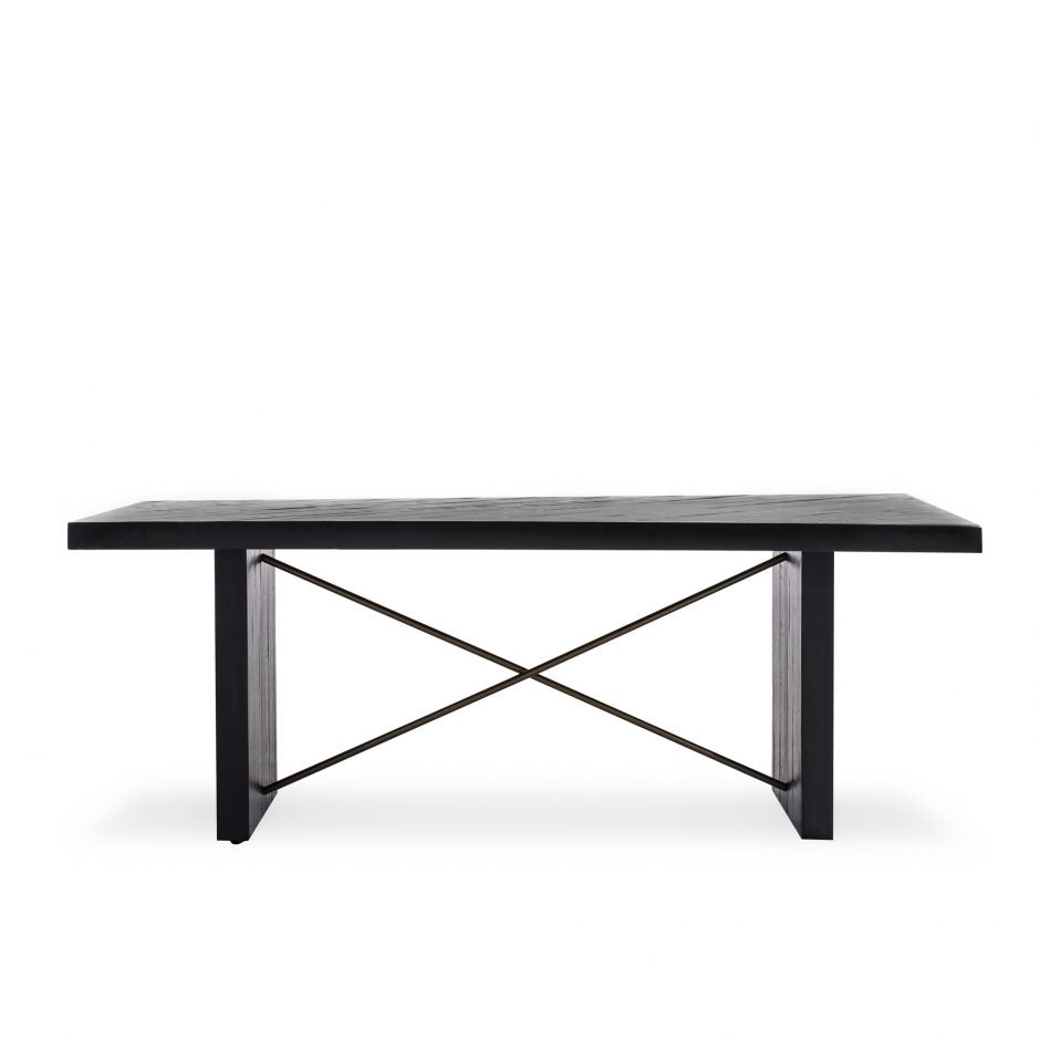 "Classic Ebony 80"" Acacia Conference Table with Steel Legs"