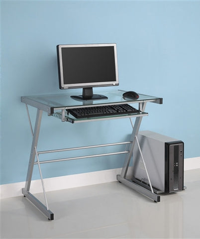 Silver Framed Glass Workstation with Slide Out Keyboard Tray