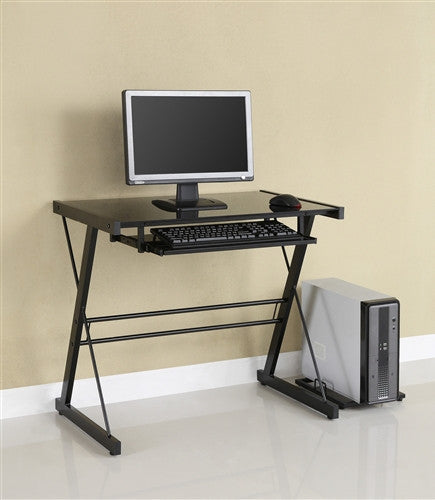 Compact Black Glass Modern Desk with Keyboard Tray