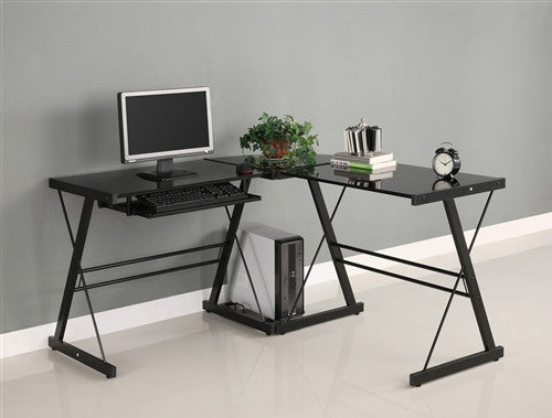 "Modern 51"" Black Glass Corner L-shaped Desk"