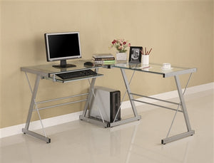 Contemporary L-shaped Corner Clear Glass Office Desk