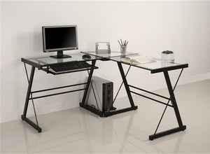 Modern Black & Clear Glass L-shaped Desk with Keyboard Tray