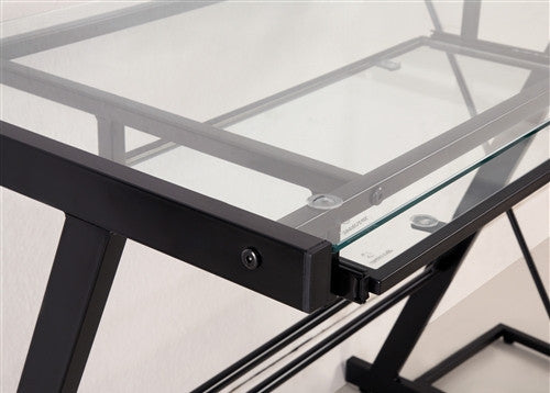 modern black u0026 clear glass lshaped desk with keyboard tray - Glass L Shaped Desk