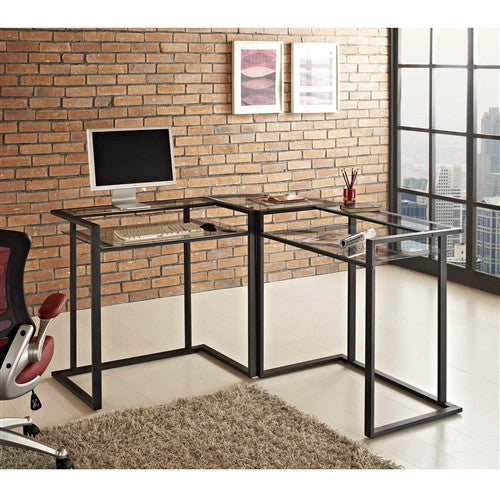 Modern L-shaped Workstation with Black Steel and Clear Glass
