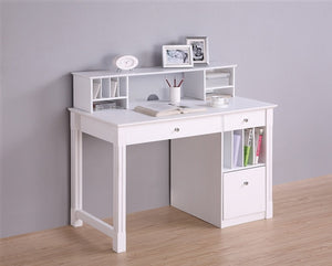 "48"" Solid Wood Desk with Optional Hutch in White"