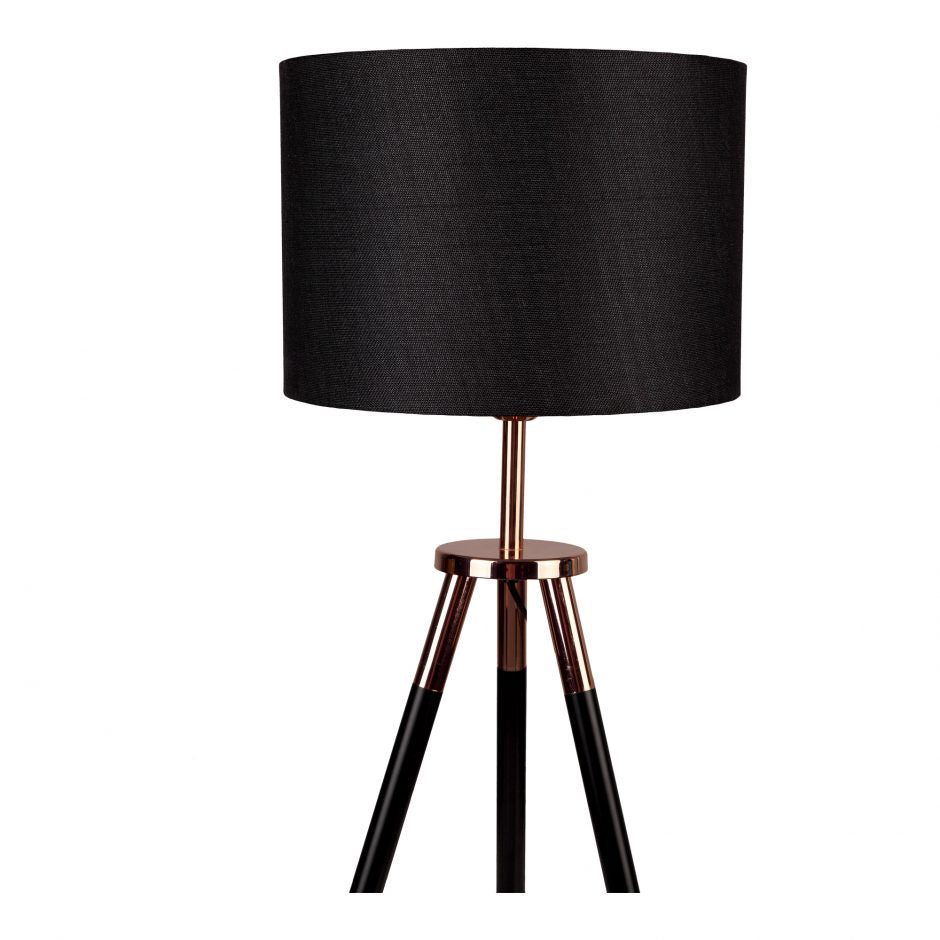 Black Linen & Copper Office Lamp