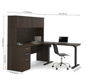 L-Shaped Adjustable Office Desk with Hutch in Dark Chocolate