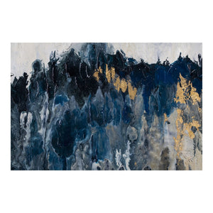 "Blue & Black Abstract Mountain Range Wall Art, 59"" x 27"""