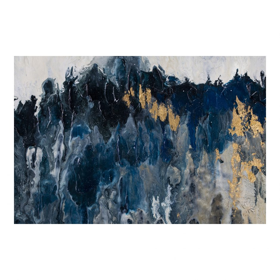 Blue & Black Abstract Mountain Range Wall Art, 59