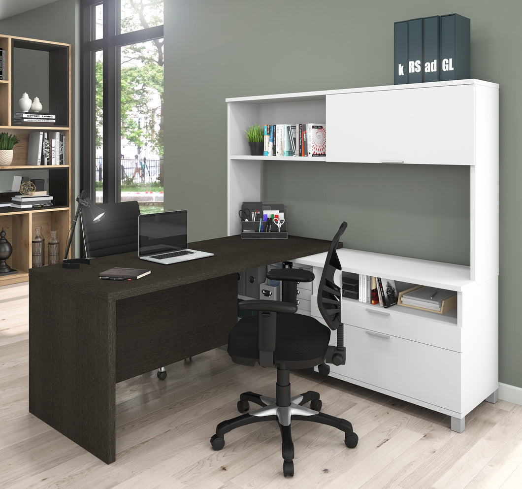 Premium Modern L-shaped Desk with Hutch in Deep Gray & White