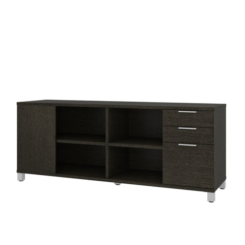 Modern Deep Gray Credenza with Full Pedestal & Shelving