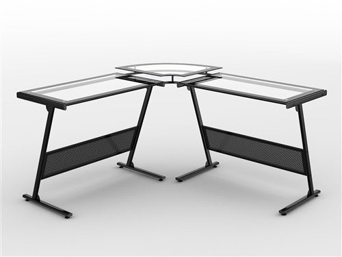 L-shaped Modern Glass Workstation with Elevated Monitor Stand