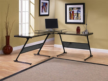 Load image into Gallery viewer, L-shaped Modern Glass Workstation with Elevated Monitor Stand