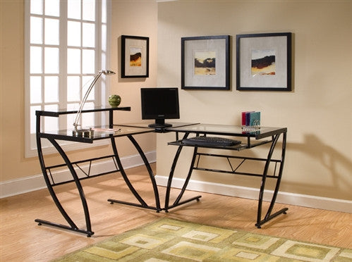Black Framed and Clear Glass L-shaped Modern Desk
