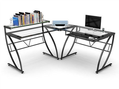Channing Clear Glass L-shaped Desk with Black Glass Border