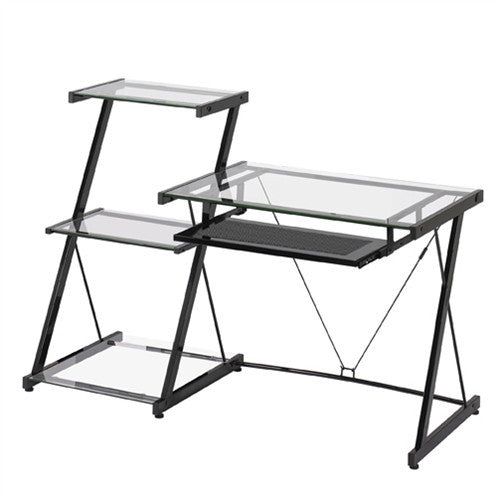 Contemporary Glass Desk with Black Frame and Bookcase