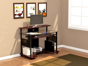 "Modern 48"" Glass Desk with Cherry Finish"