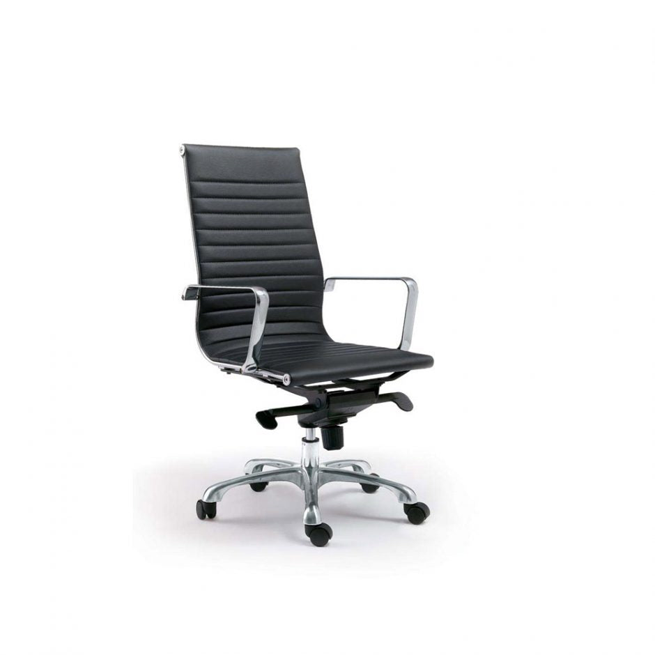 High Back Executive Conference Chair with Tilt-Lock in Black (Set of 2)