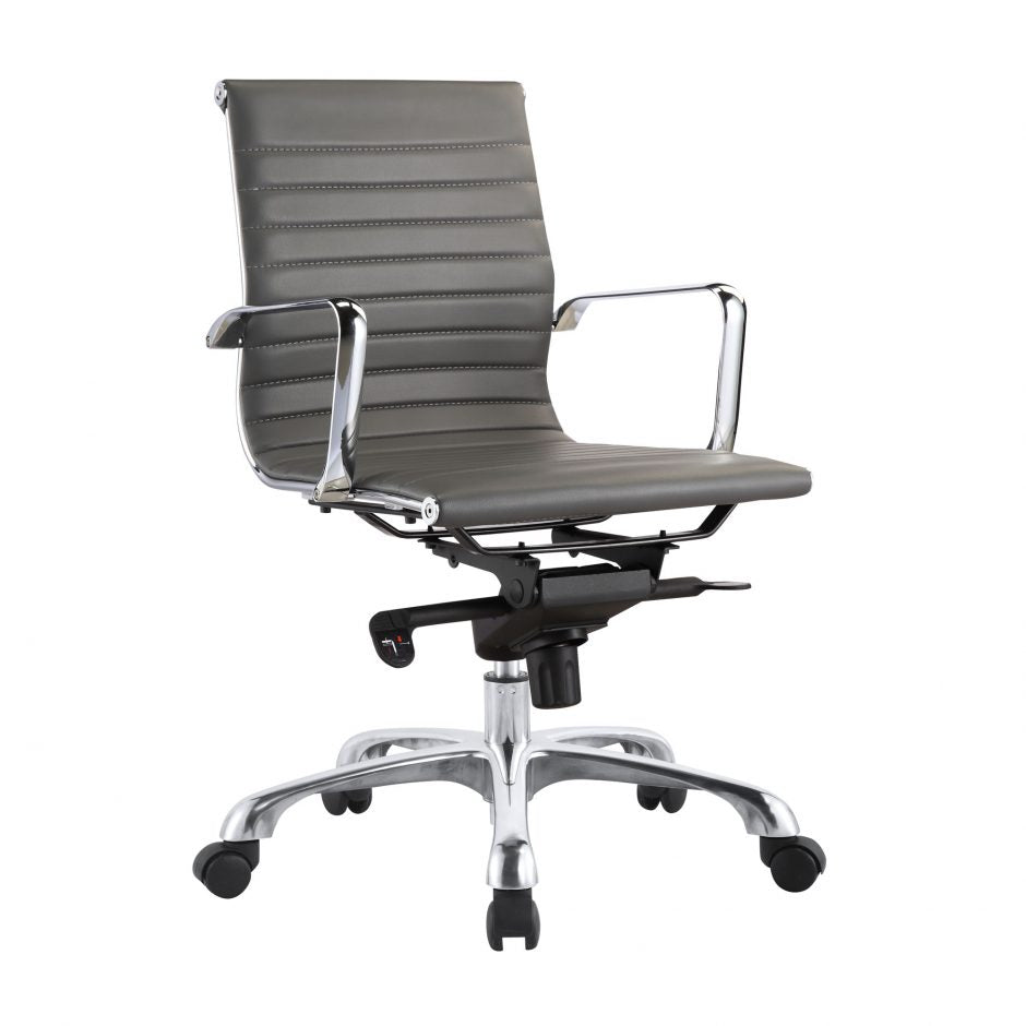 Low Back Conference Chair with Tilt-Locking in Grey (Set of 2)