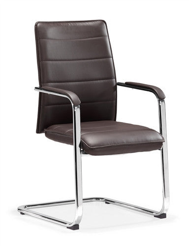 Modern Conference Chair in Espresso Leather and Chrome