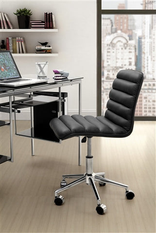 Black Comfortable Modern Armless Office Chair in Black