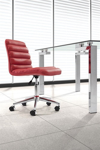 Modern Comfortable Armless Office Chair in Red