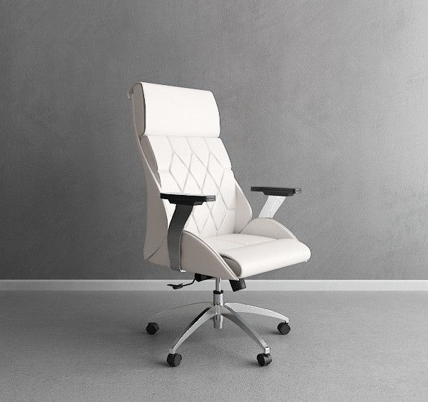 White Leather & Chrome Modern Office Chair with Ultimate Comfort