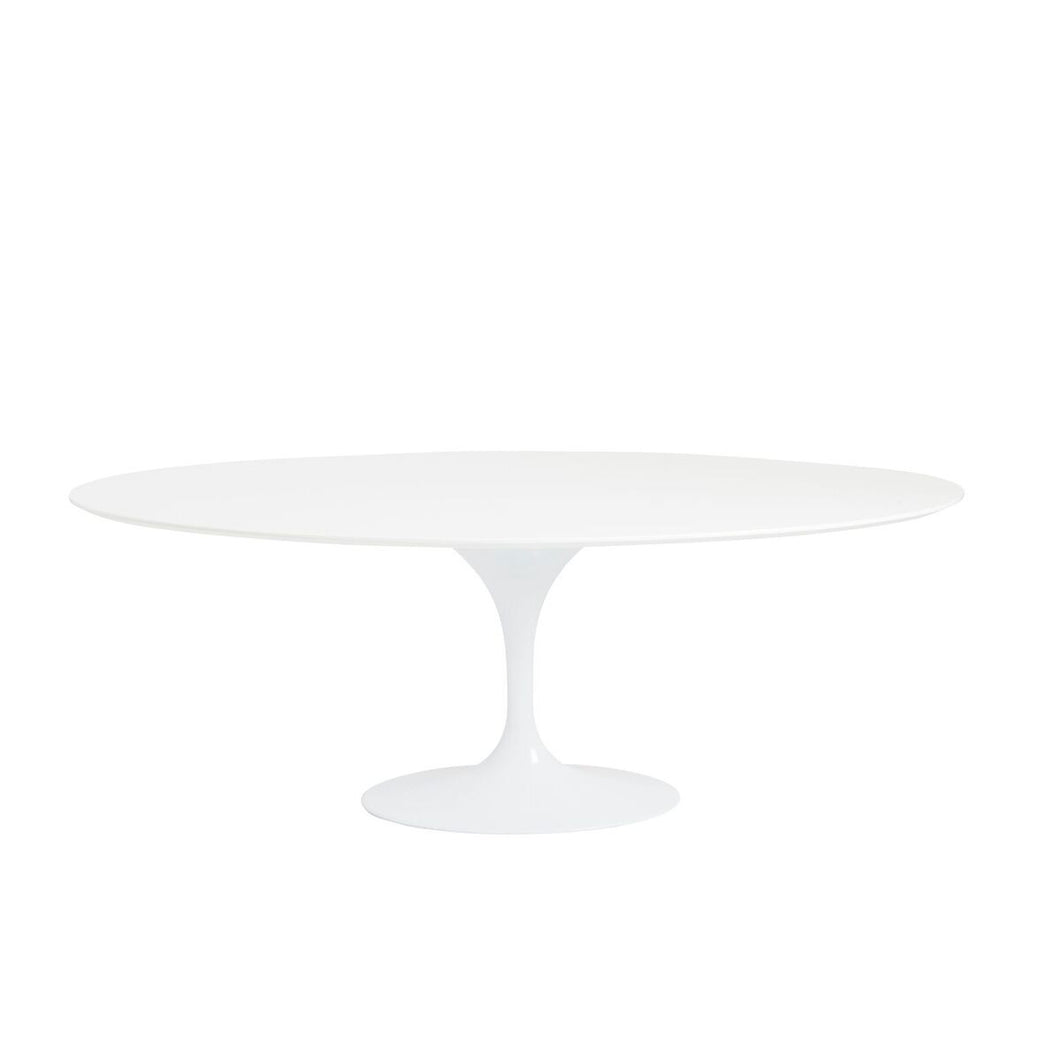 Elegant White Lacquer Oval Conference Table