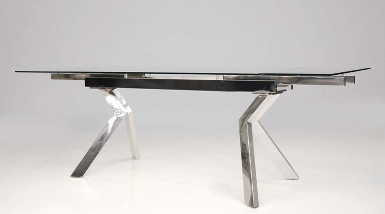 Modern Glass & Stainless Conference Table or Desk (Extends from 62-94
