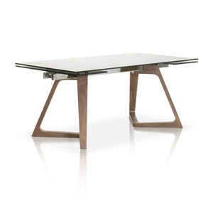 "71 - 103"" Conference Table with Smoked Grey Glass Top & Elegant Walnut Legs"