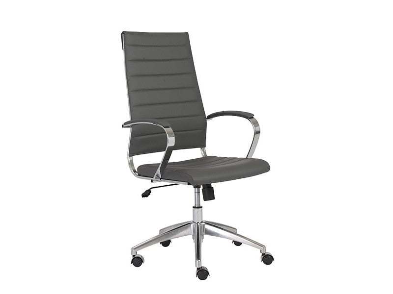 Modern Gray High Back Office Chair with Chrome Frame