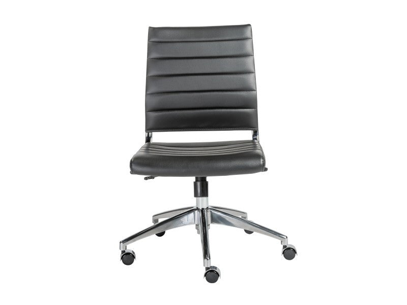 Modern Armless Black Leather & Chrome Office Chair