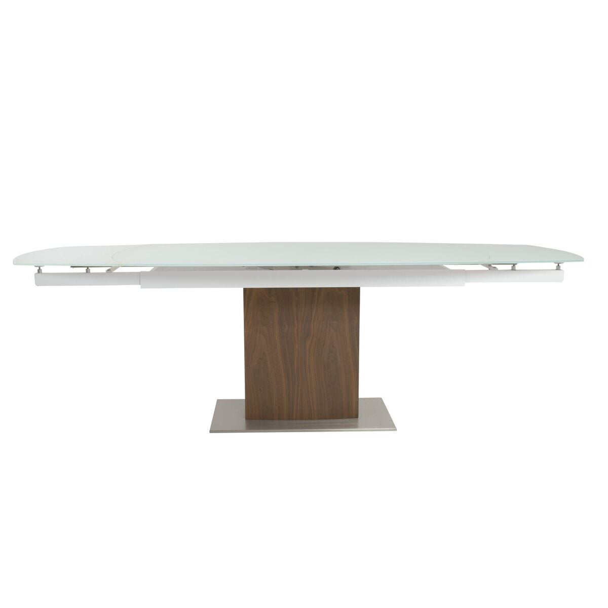 "Modern American Walnut & White Glass Desk or Conference Table (Extends from 63 - 95"")"