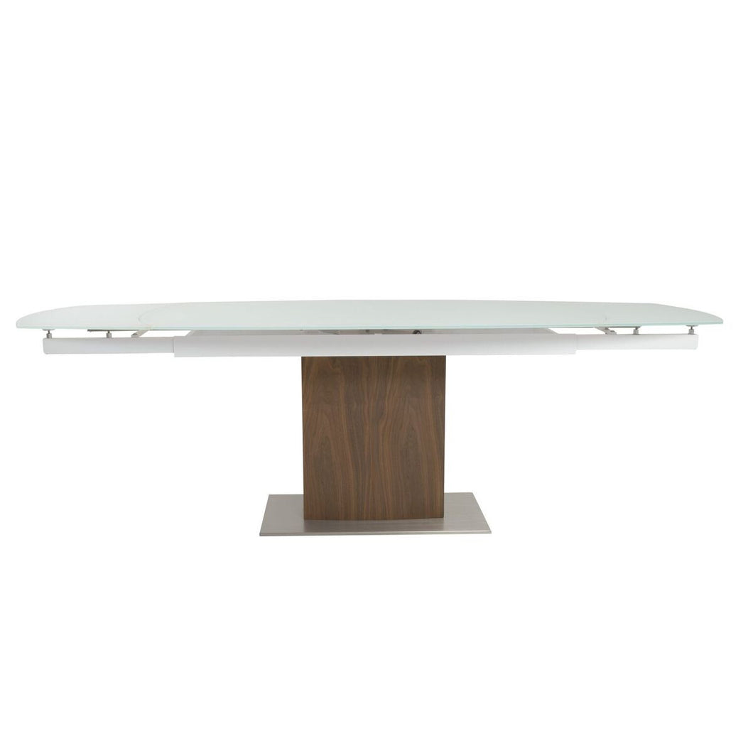 Modern American Walnut & White Glass Desk or Conference Table (Extends from 63 - 95
