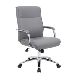 Grey Faux Leather & Chrome Ergonomic Office Chair w/ Classic Design