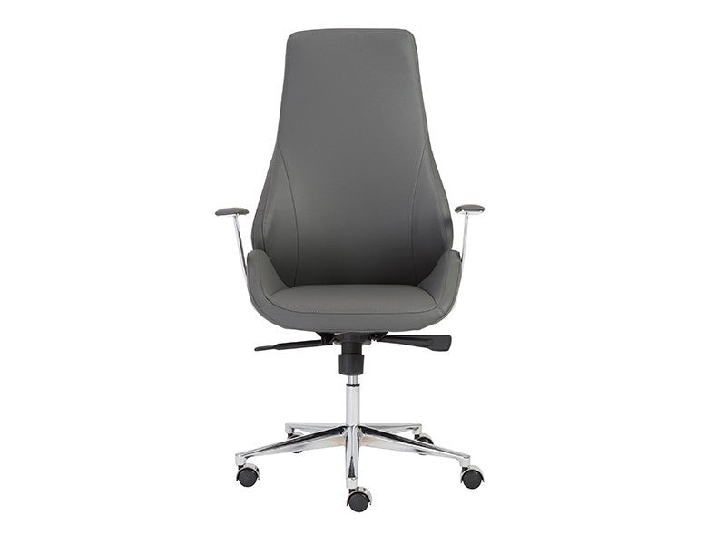 Bergen Modern Gray Leather High Back Office Chair