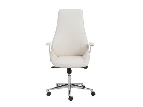 Bergen Modern White Leather High Back Office Chair