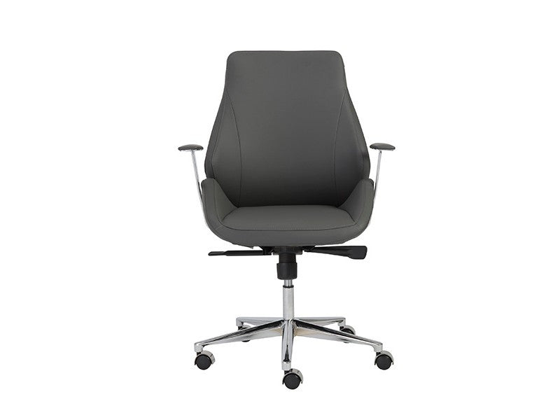 Bergen Modern Gray Leather & Chrome Office Chair