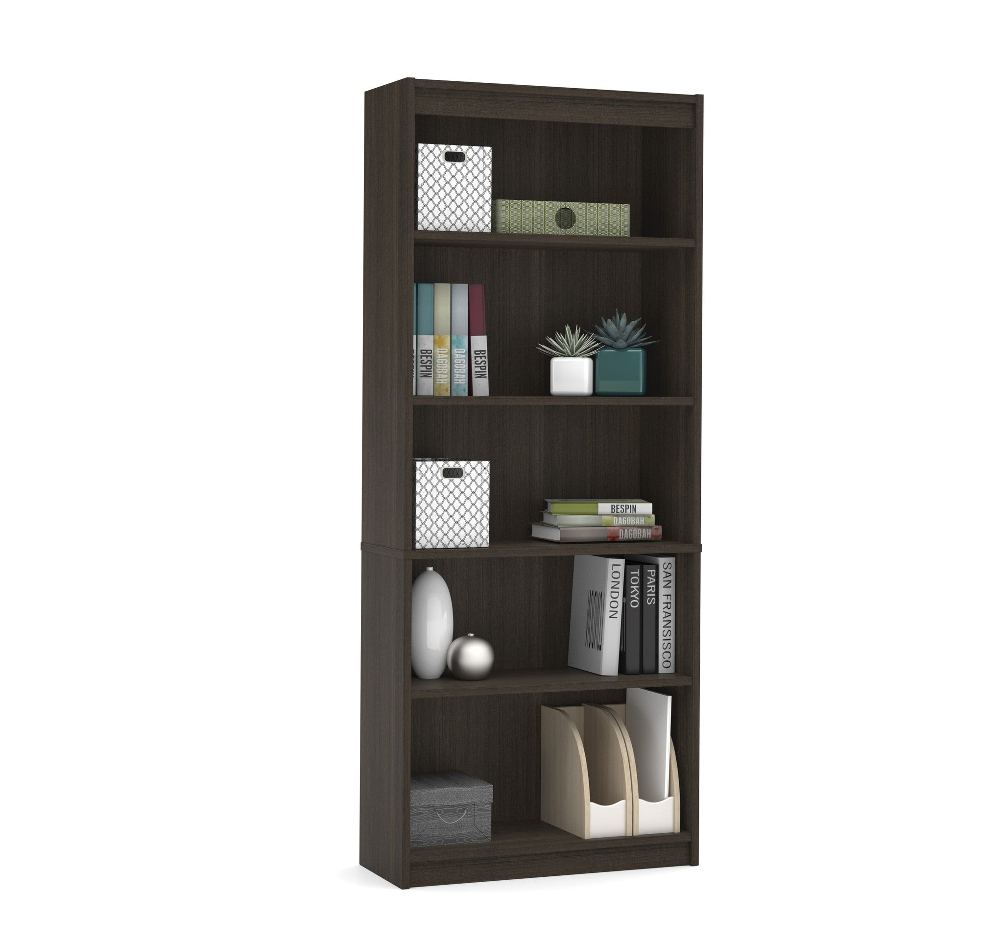 "Contemporary 72"" 5 Shelf Bookcase in Dark Chocolate"