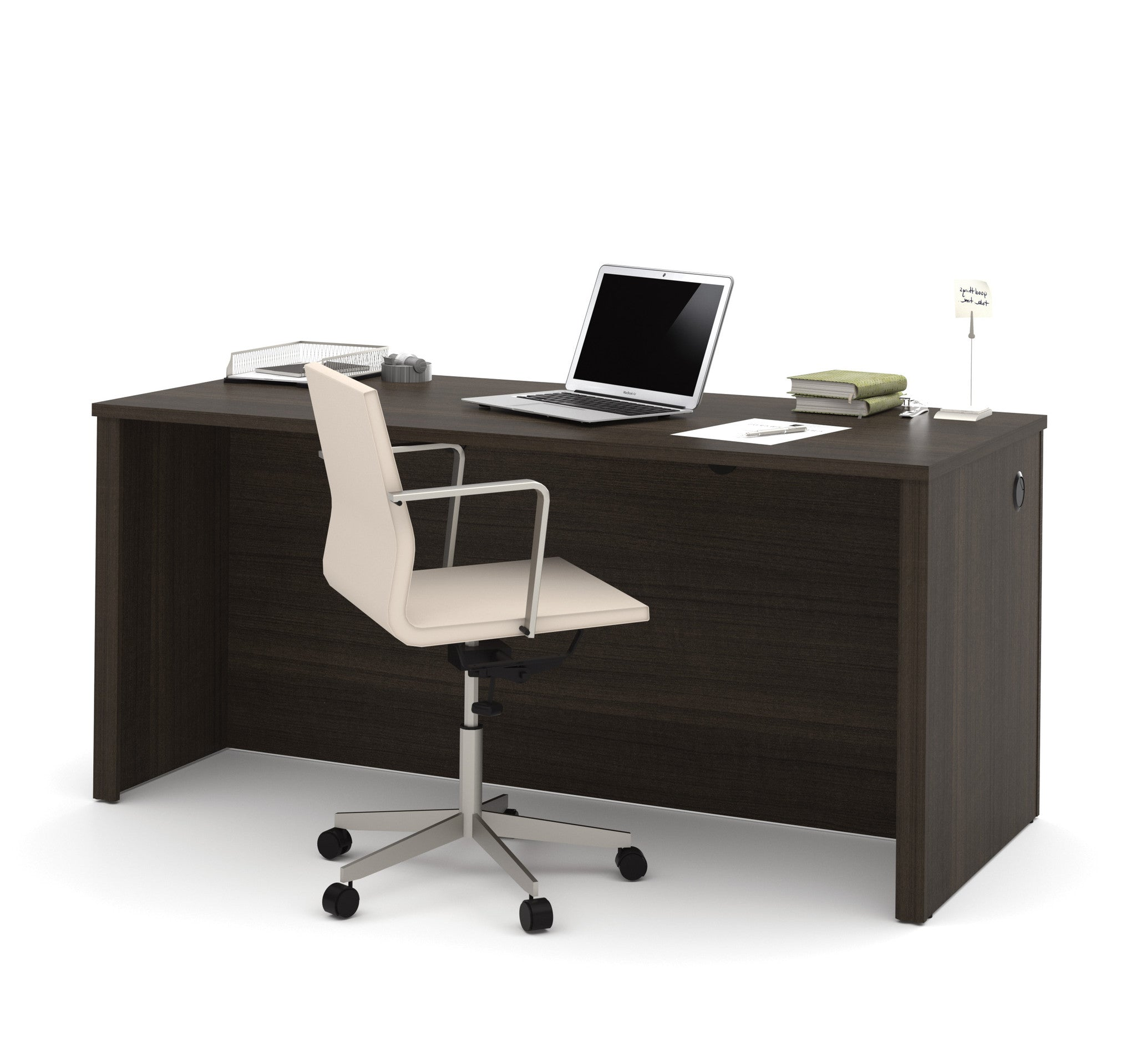"66"" Modern Executive Desk in Dark Chocolate Finish"